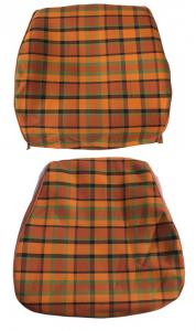Seat cover set cover orange with yellow and green chequered two-piece per seat