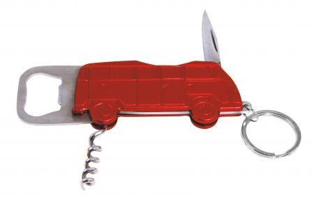 Split Bus bottle opener deluxe keychain red
