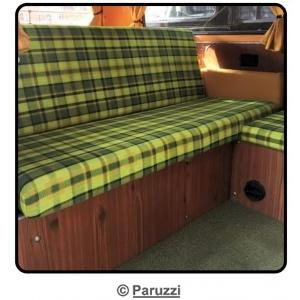 Rock and roll bed cover 1400 mm wide green with yellow chequered