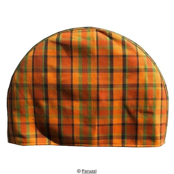 Spare wheel cover orange, green and red chequered