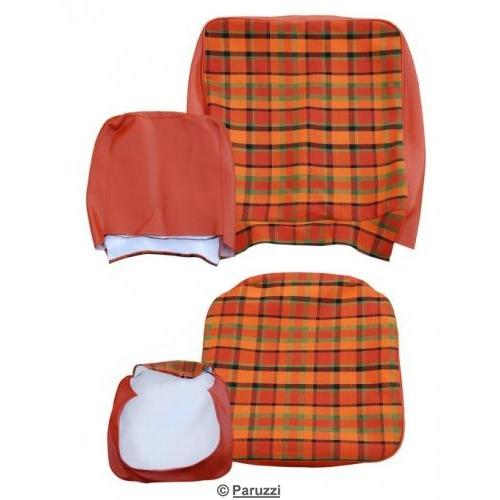 Seat cover set cover orange with yellow and green chequered two-piece (per seat)