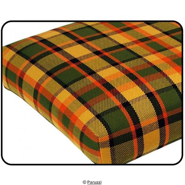 Rock and roll bed cover 1090 mm wide yellow with green and red chequered